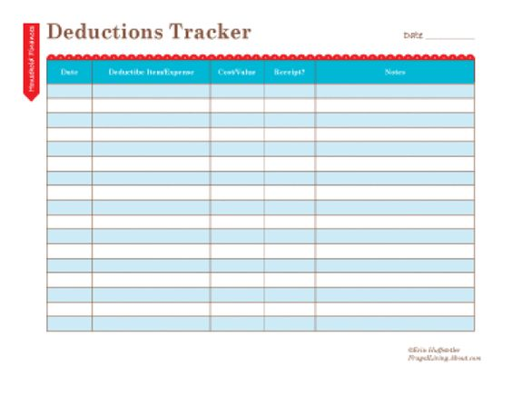 Free Household Notebook. Includes 36 Printables: Tax Deductions Tracker