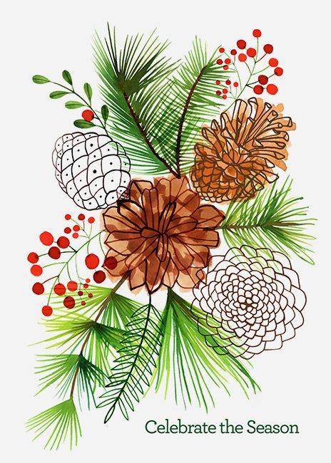 Margaret Berg Art: Berries+Holly+Pine+Cones+Center: