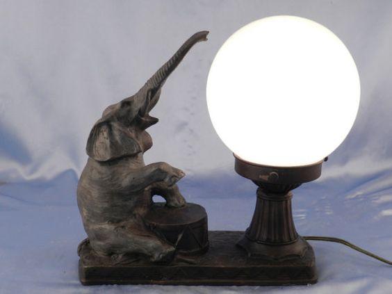 art deco nuart design hot cast bronze lamp solid bronze metal circus elephant accent light. Black Bedroom Furniture Sets. Home Design Ideas