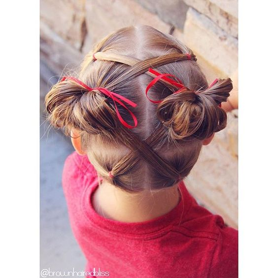 """Another fun toddler style. This time I criss crossed the ponytails to the middle and did messy buns. Love the look of the ""X"" on the top and bottom. ❤️❤️❤️"" Photo taken by @brownhairedbliss on Instagram, pinned via the InstaPin iOS App! http://www.instapinapp.com (08/11/2015)"