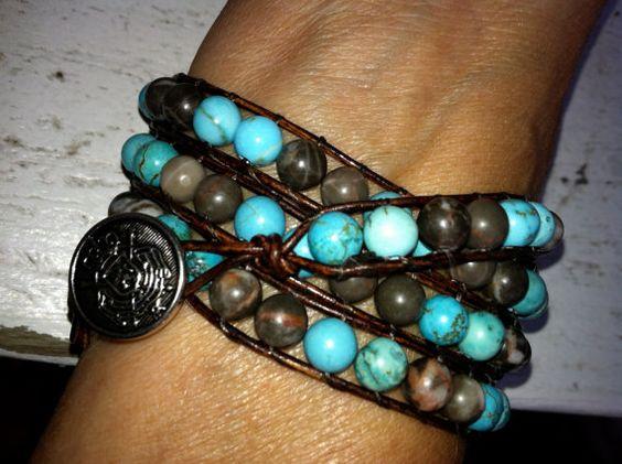 Leather wrap bracelets of Swarovski or by HippieWraps on Etsy