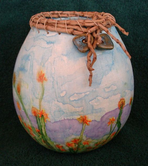Gourd with painted watercolor flowers and by BeautifulGourdArt