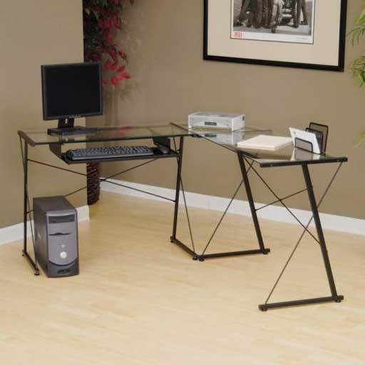 Sauder Office Reversible Tempered Glass Computer Desk L Shaped Desk Desk Buying Appliances