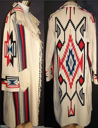 Chimayo blanket coat by Señorita Maisel of New Mexico, ca 1940s