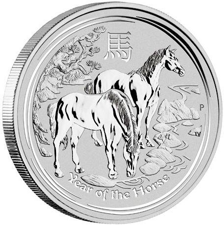 Year of the Horse ♣ 1 kg 2014 : Incl. btw € 533,74 ~ Volgens de chinese kalender is 2014 het jaar van het paard. De munt is geslagen in 1 kilogram puur zilver (99,9%). Het betreft de nieuwe munt uit de Lunar serie, dewelke wordt uitgegeven door de Perth Mint uit Australie. De Lunar zilver munten zijn gegeerd bij verzamelaars en beleggers in edelmetaal.