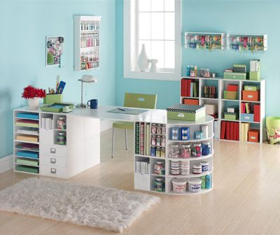 Craft room by Michaels. Buy 2 boxes each pay check w 40% off coupon. Hobby Lobby has this too, in black! In no time, you'll have furniture for a craft room! (I need the actual room, too!)