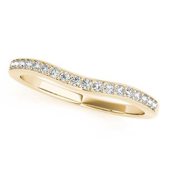 Diamond Contoured Semi Eternity Wedding Band 14k Yellow Gold (0.25ct)-Allurez.com