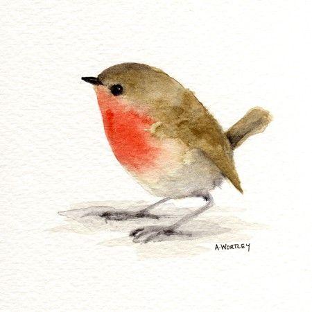 little red robin original watercolour originals. Black Bedroom Furniture Sets. Home Design Ideas