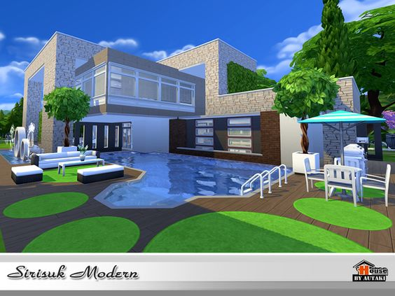 Sirasuk modern house by autaki at tsr via sims 4 updates for Casas modernas sims 4 paso a paso