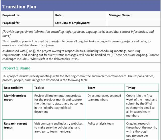 Project Transition Plan Template Fresh Jill Martine Author At
