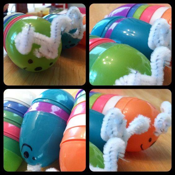 Easy Caterpillar craft from leftover Easter eggs! (via #spinpicks)