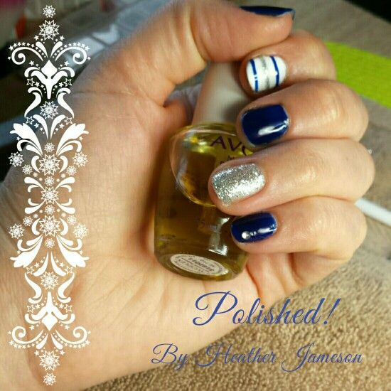 Navy Blue Nails With Silver Glitter Ring Finger And White