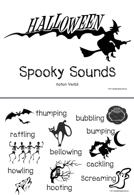 Halloween Spooky Sounds Word List Card A u0027Spooky Sounds - action verbs list