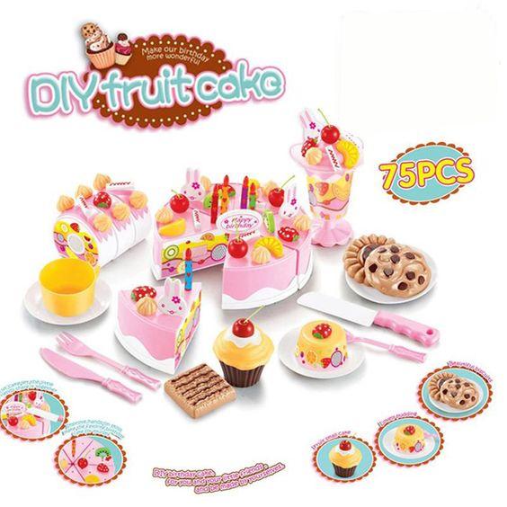 unids cocina juguetes juegos de imaginacin juguete pastel de cumpleaos de corte de alimentos juego