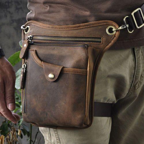 Mens Genuine Leather Fanny Pack Motorcycle Riding Messenger Waist Drop Leg Bag