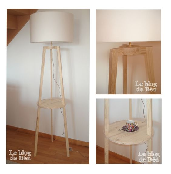 diy lampadaire tr pied en bois de palette for the home. Black Bedroom Furniture Sets. Home Design Ideas