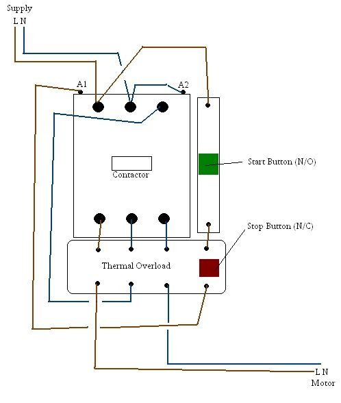 3 phase contactor wiring diagram in 3 phase start stop