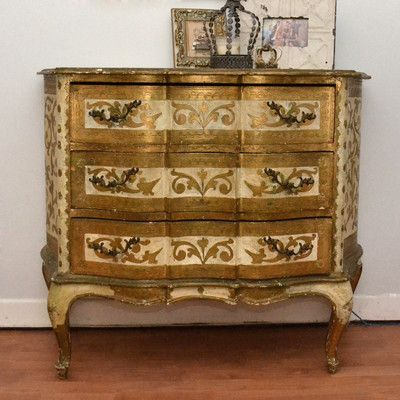 Ornate Chic Elegant Fancy 3 Drawer Florentine Italianate Gold Gilt Dresser Chest | eBay