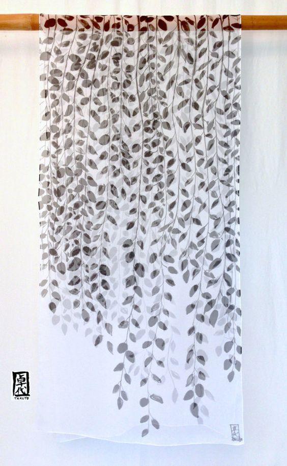 Hand Painted Silk Shawl Scarf Black Zen by SilkScarvesTakuyo