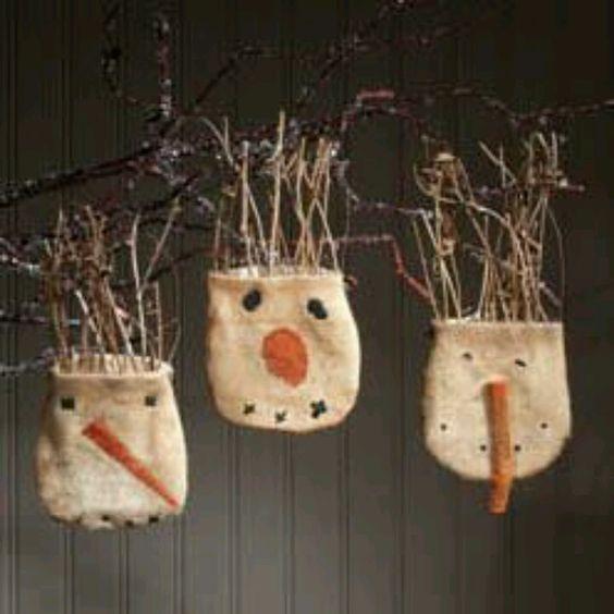 Prim Snowfolk Ornaments...with twigs.