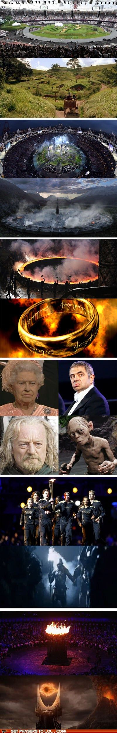 The whole London Opening Ceremonies honored J.R.R. Tolkien :)