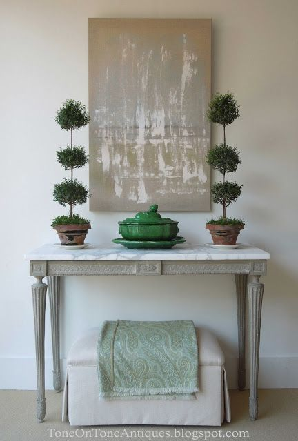 pop of color trend greens in neutral entry way