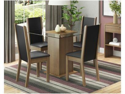 Conjunto De Mesa Com 4 Cadeiras Estofadas Madesa Aline Com As