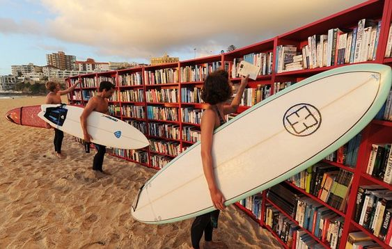 Bondi Beach in Sydney, Australia. IKEA placed 30 Billy bookcases on the sand so you could bring your own books and swap them for ones on the shelf, or just take a book and give a donation to help literacy.