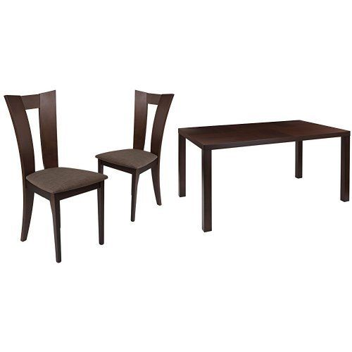 Flash Furniture Ardley 5 Piece Espresso Wood Dining Table Set With Slotted Back Wood Dining Chairs Dining