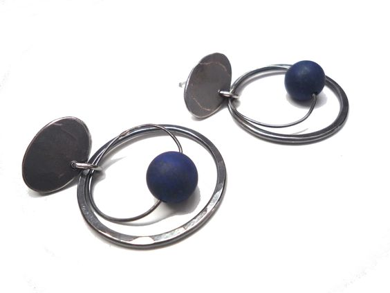 Blackened silver and lapis earrings.