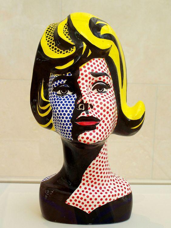Roy Lichtenstein, Head with Blue Shadow, Painted Ceramic Sculpture, 1965. #RoyLichtenstein