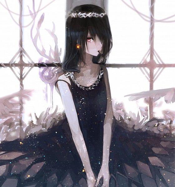 Black hair anime girl black dress