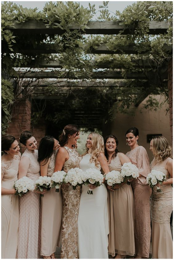 Gold and Ivory bridesmaid dresses