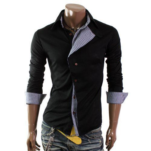 Doublju Mens Casual Checked Pattern Shirts(W04S)