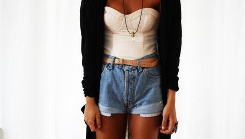 High waiste shorts, cardigan