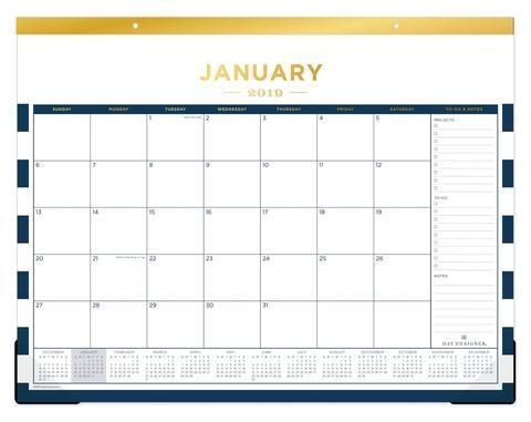January 2019 Large Desk Pad Calendar Navy Stripe Desk Calendar Pad Family Schedule Desk Pad