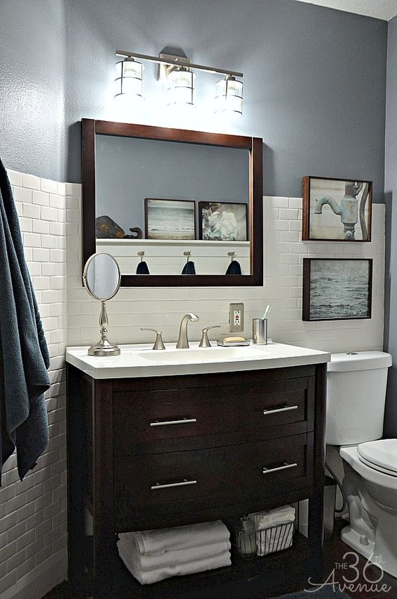 Vanity Light Makeover : Home Decor - Bathroom Makeover Bathroom lighting, Vanities and Dark wood