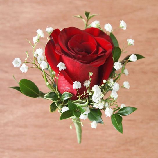 Flower, Red Rose Boutonniere And Babies Breath On Pinterest