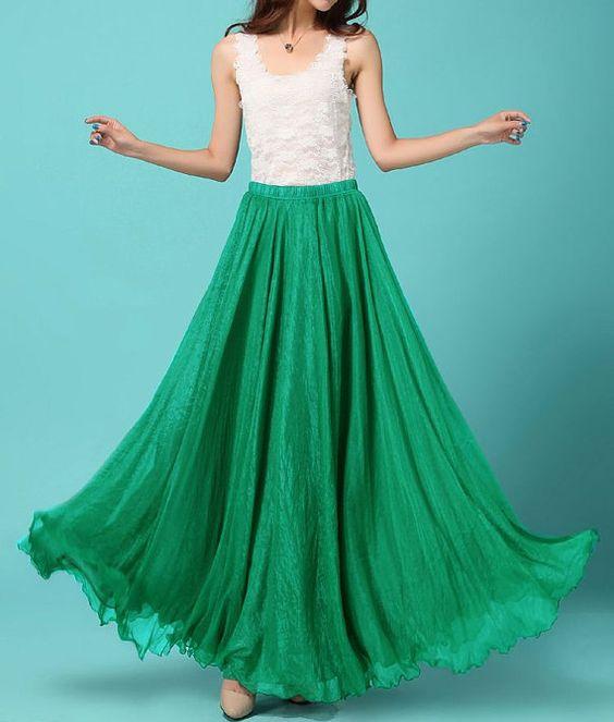 Green Chiffon skirt Maxi Skirt Wedding skirt Silk Chiffon Dress Plus size skirt Long Holiday Dress Sundress Dancing skirt