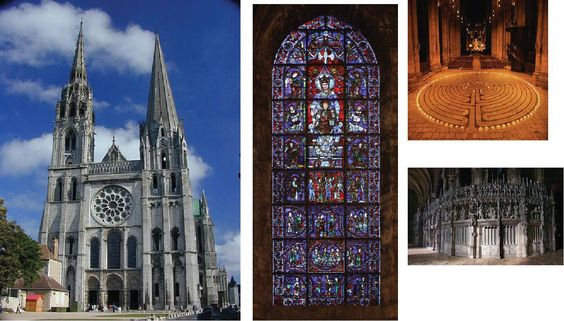 (Europe)GROUP 6: Chartres Cathedral, North France.  Constructed:1193 and 1250.  Has most of its original stainglass windows, a labyrinth in its nave and a large variety of sculptures on its facades.