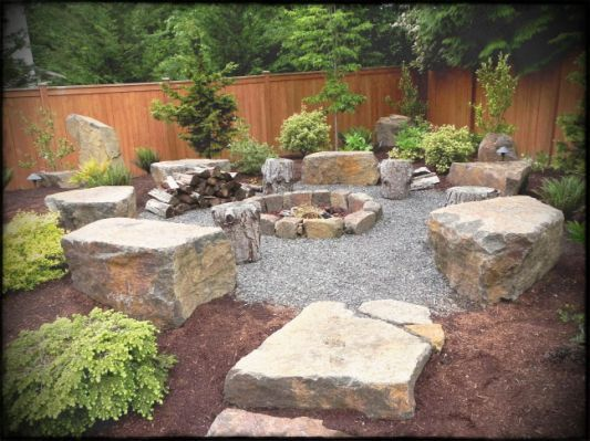 Rock Garden Designs For Front Yards Fire Pit Landscaping