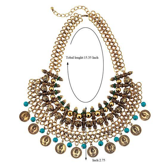 Wholesale estilo bohemio de moda de lujo collar de flecos hechos a mano monedas de metal (plata antigua)   Callesetas