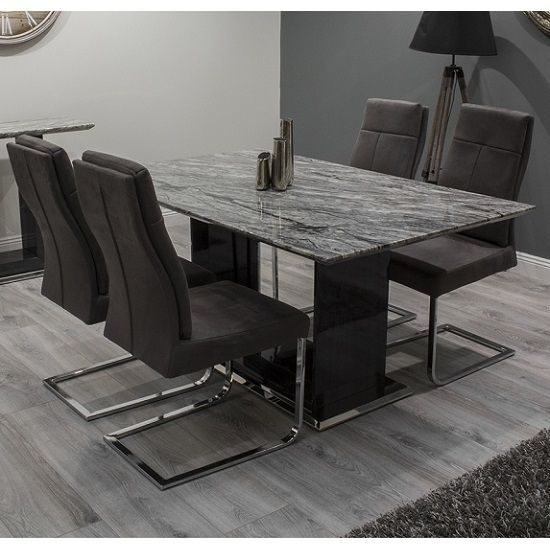 Connor Marble Dining Table Small In Grey And Gloss With 4 Chairs Marble Dinning Table Marble Dining Dining Table