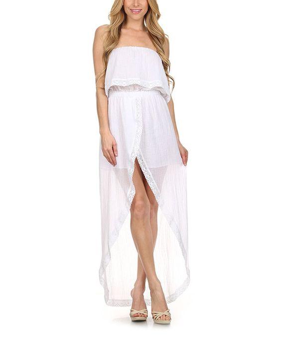 Another great find on #zulily! Karen T. Design White Lace-Trim Hi-Low Dress by Karen T. Design #zulilyfinds