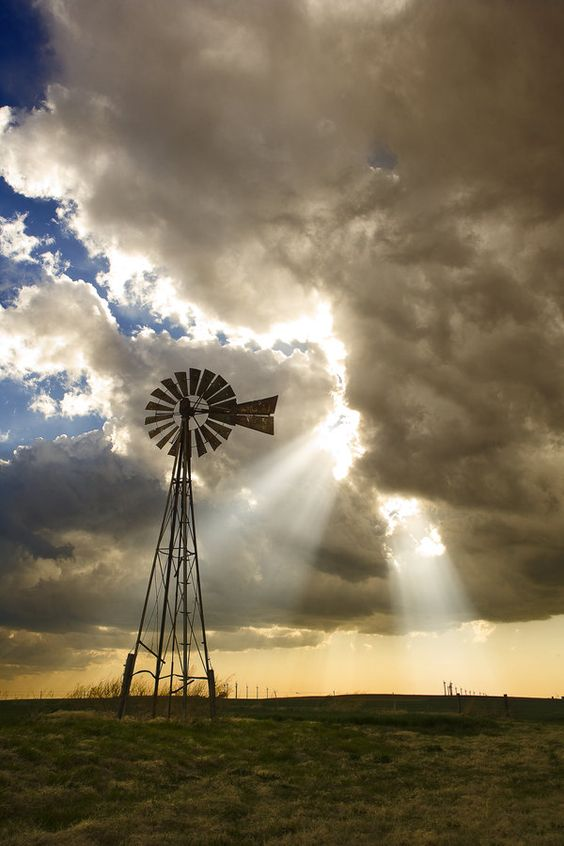 #beautiful #clouds Windmills, turning slowly in the breeze to water the herd and flock. SA
