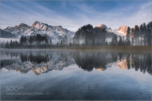 Spiegelung by FriedrichBeren  Almsee Berge Sonnenaufgang Spiegelung Spiegelung FriedrichBeren