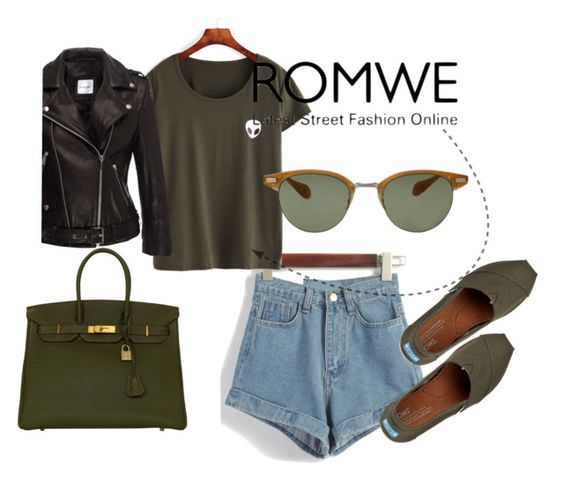 """""""olive green"""" by chantal-07 ❤ liked on Polyvore featuring Anine Bing, Oliver Peoples, TOMS, Hermès and romwe"""
