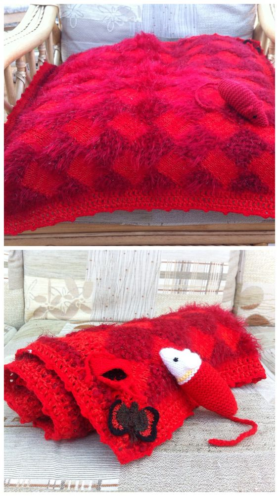 Something nice for your cat - THE RED POPPY SET - in luscious deep red glitter, bobble yarn with special corner motifs - red admiral butterfly and red tied purse with black seeds (Poppy's secret)   A 2 foot square, quality blanket,  knit in the entrelac style using thick and textured yarns ( like mohair, eyelash, funky fur, bobble and sparkle yarns), surrounded by a crochet border.    Provides for the cat's 'padding', soft comfort at sleep time and protection for your furniture and clothes…