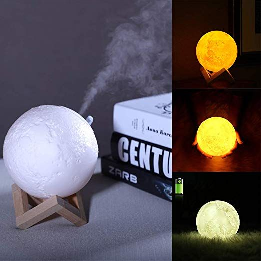 Powstro 880ml Air Humidifier 3d Moon Lamp 3 Color Changing Night Light Diffuser Aroma Essential Oil Usb Charger Cool Mist Pur Lamp Aroma Essential Oil Diffuser