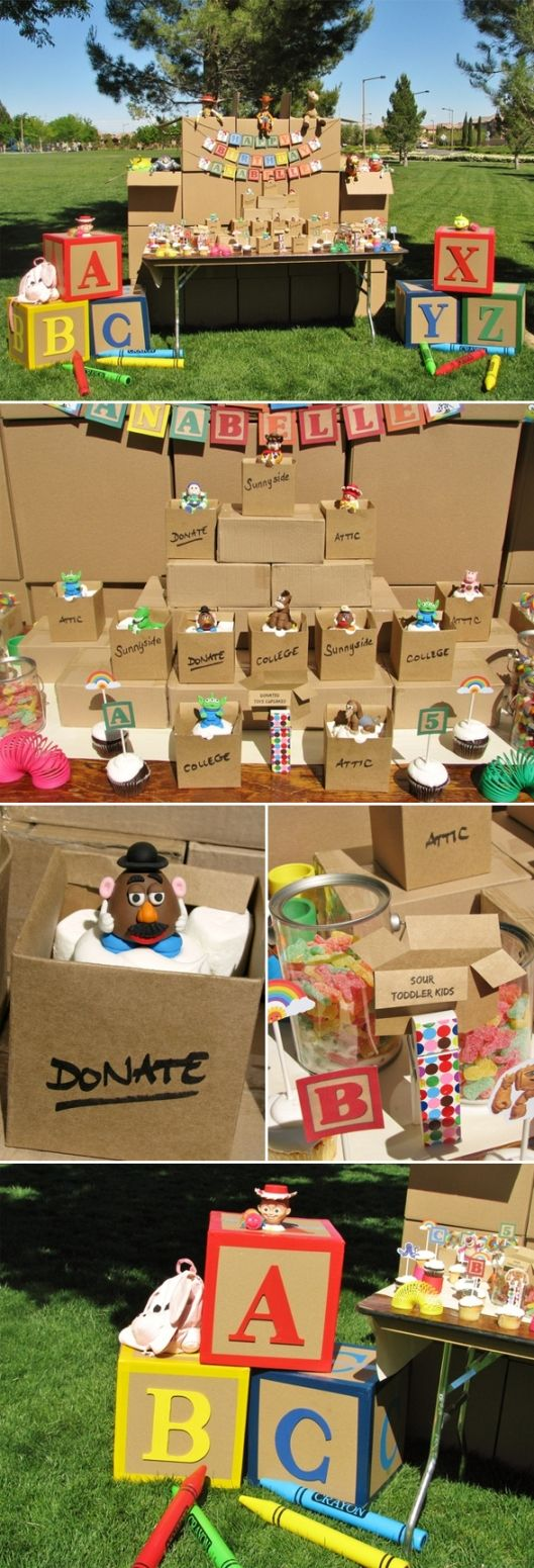 Toy story party ideas birthday in a box - Would B Cute To Have A Donate Box For Guests To Bring A Toy Birthday Party